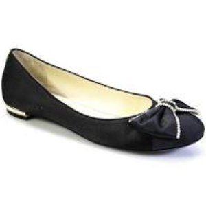 CHANEL Black Satin Pearl Trim Flats Ballerina 40.5